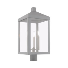 Livex Lighting 20586-80 - 3 Lt Nordic Gray Outdoor Post Top Lantern