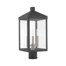 Livex Lighting 20592-76 - 3 Lt Scandinavian Gray Outdoor Post Top Lantern