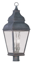 Livex Lighting 2606-61 - 3 Light Charcoal Outdoor Post Lantern