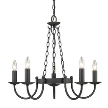 Golden 1818-5 BI - Diaz 5 Light Chandelier in Black Iron