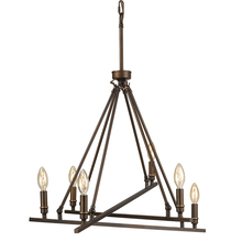 Golden 2360-6 RBZ - Garvin 6 Light Chandelier in Rubbed Bronze
